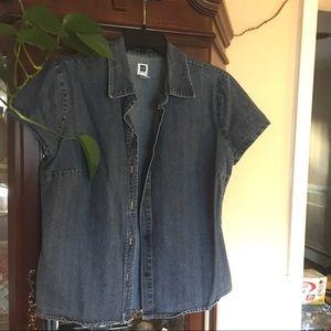 Vtg Gap fitted denim short sleeve collar shirt